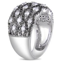 Miadora 14k White Gold 1 5/8ct TDW Black and White Diamond Ring (G-H, I1-I2) - Thumbnail 1