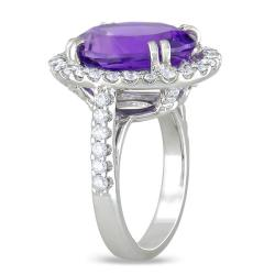 Miadora 14k White Gold Amethyst and 1ct TDW Diamond Cocktail Ring (G-H, SI1-SI2) - Thumbnail 1