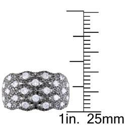 Miadora 14k White Gold 1 5/8ct TDW Black and White Diamond Ring (G-H, I1-I2) - Thumbnail 2