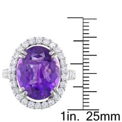 Miadora 14k White Gold Amethyst and 1ct TDW Diamond Cocktail Ring (G-H, SI1-SI2) - Thumbnail 2