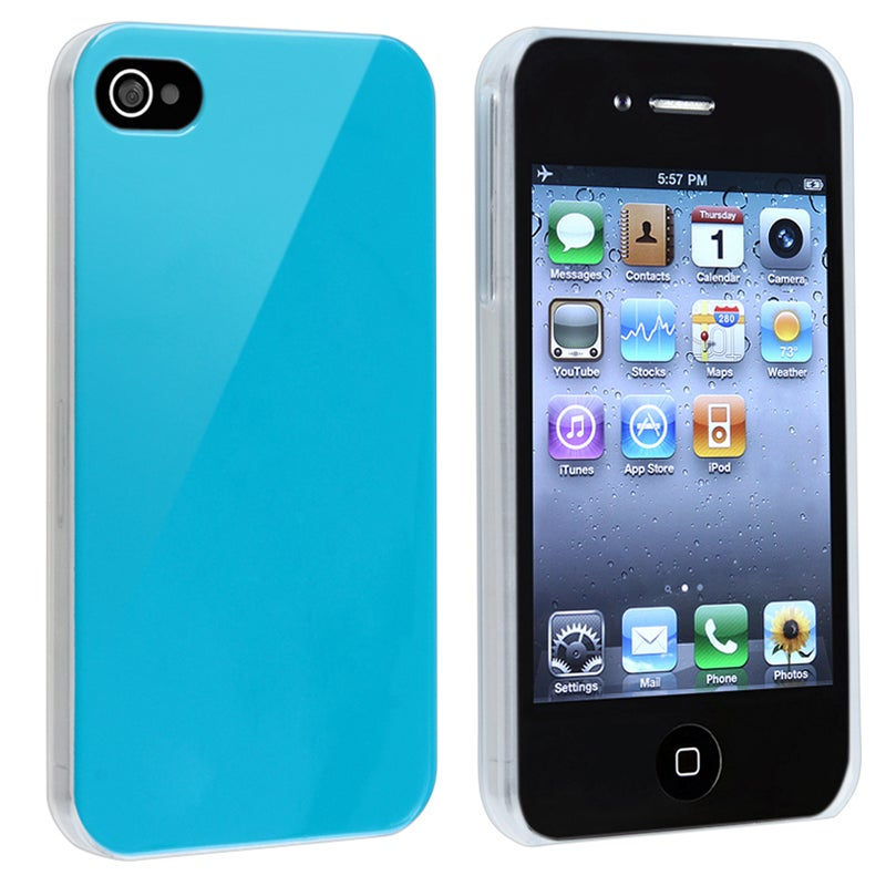 Sky Blue with Clear Side Snap-on Case for Apple iPhone 4/ 4S
