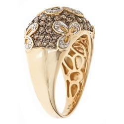 D'Yach 14k Gold 1 1/10ct TDW Brown and White Diamond Fashion Cocktail Ring (G-H, I1-I2)