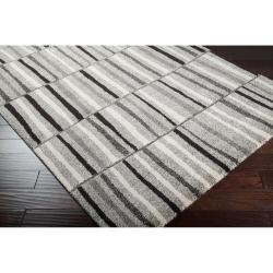 Meticulously Woven Grey Contemporary Banburr Abstract Rug (5'3 x 7'6) - Thumbnail 1