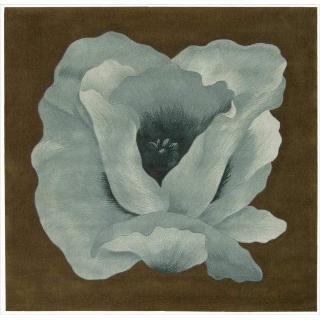 Nourison Hand Tufted Aqua Flower Art Wool Rug (5' x 5')