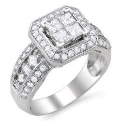 Montebello 14k White Gold 1 1/4ct TDW Diamond Composite Engagement Ring (H-I, I1-I2)