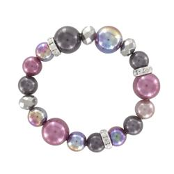 Roman Purple and Grey Faux Pearl Faceted Stretch Bracelet