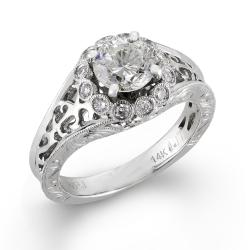 14k White Gold 1 1/5ct TDW Vintage Inspired Cutout Diamond Ring (H-I I1) - Thumbnail 1