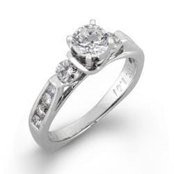 14k White Gold 1ct TDW Round Diamond Engagement Ring (H-I I1) - Thumbnail 1