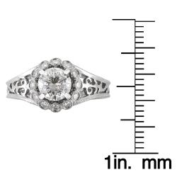 14k White Gold 1 1/5ct TDW Vintage Inspired Cutout Diamond Ring (H-I I1) - Thumbnail 2