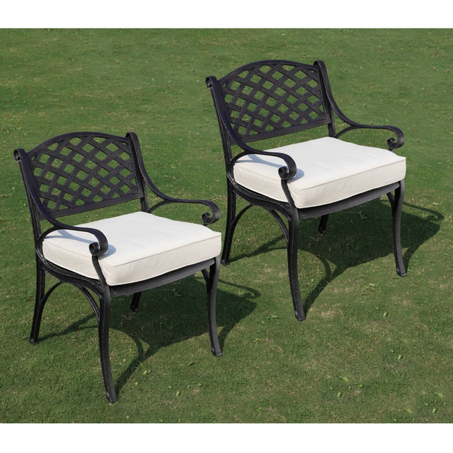 Black Cast Aluminum Cushioned Dining Chairs (Set of 2)