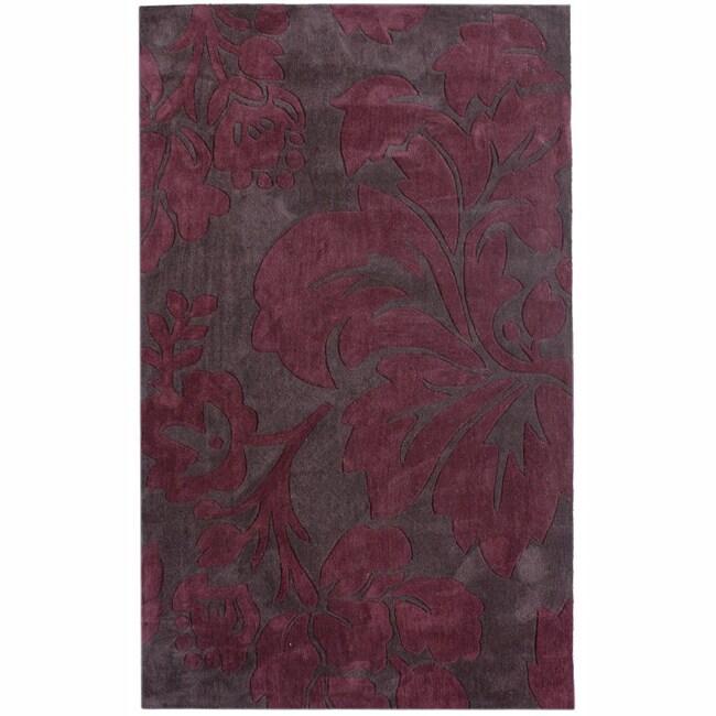 nuLOOM Handmade Pino Burgundy Floral Fantasy Rug (6' x 9')