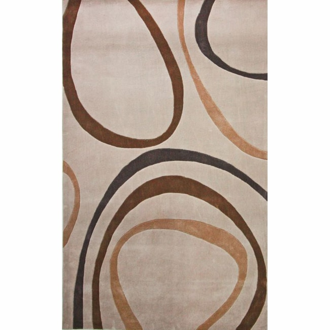 nuLOOM Handmade Pino Circles Beige Rug (8'3 x 11')