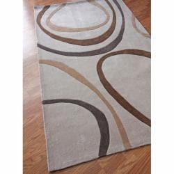 nuLOOM Handmade Pino Circles Beige Rug (8'3 x 11') - Thumbnail 1