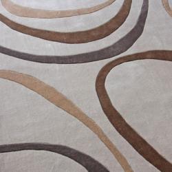 nuLOOM Handmade Pino Circles Beige Rug (8'3 x 11') - Thumbnail 2