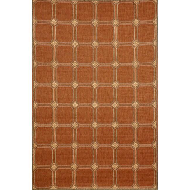 Cobblestone Indoor/ Outdoor Terracotta Rug (1'11 x 7'6)