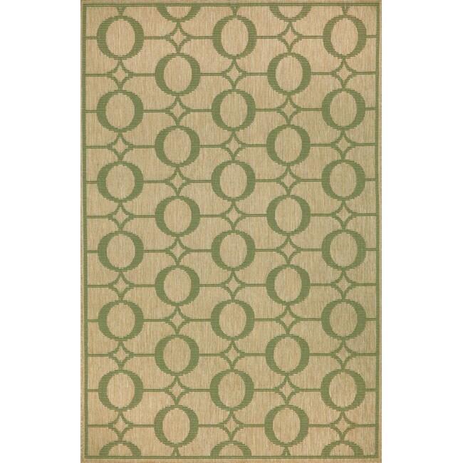 Grace Indoor/ Outdoor Green Rug (4'11 x 7'6)