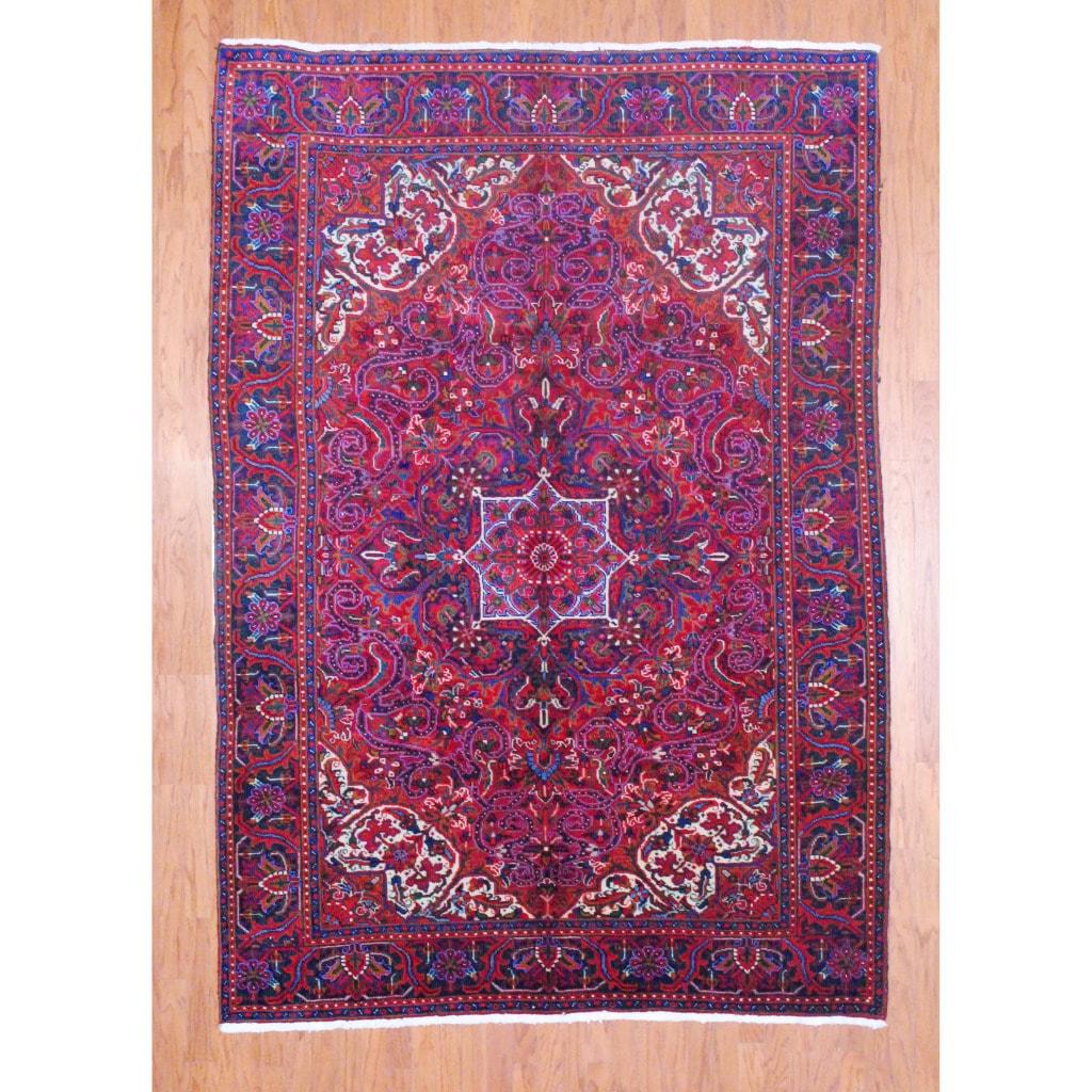 [Handmade] Persian Hand-knotted Heriz Red/ Purple Wool Rug