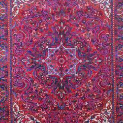 Handmade Persian Hand Knotted Heriz Red Purple Wool Rug
