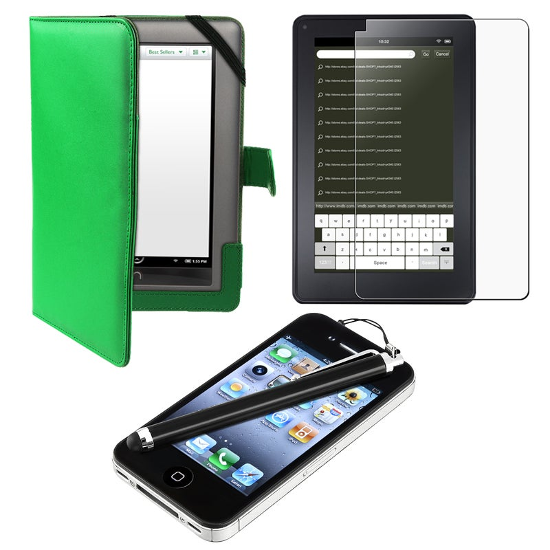 Leather Case/ Screen Protector/ Stylus for Barnes & Noble Nook Color