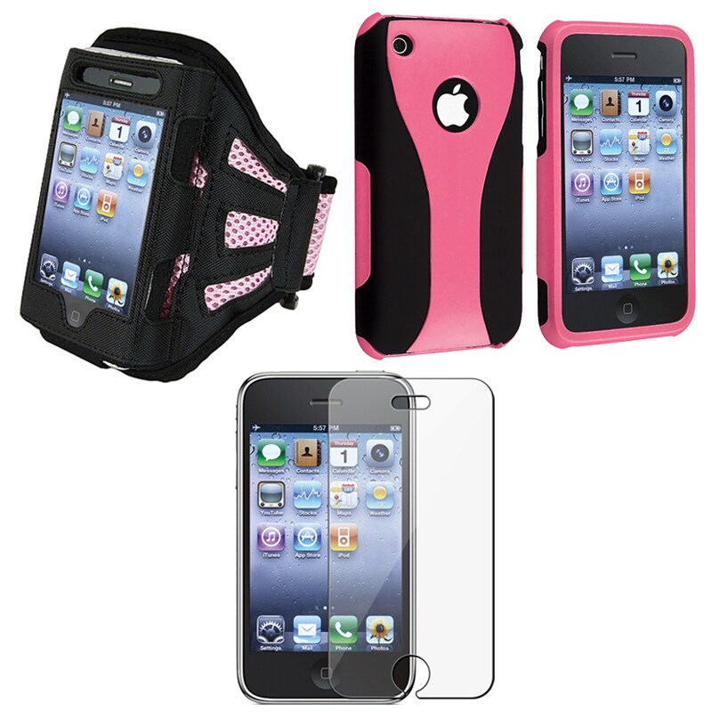 Pink Case/ Armband/ Screen Protector for Apple iPhone 3G/3GS