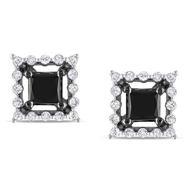 Miadora 10k White Gold 1-1/2ct TDW Black and White Diamond Earrings