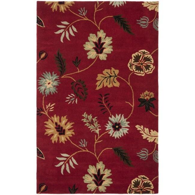 Safavieh Handmade Botanical Gardens Red Wool Rug (4' x 6')