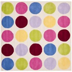 Safavieh Handmade Children's Pokka Dots Ivory N. Z. Wool Rug (7' Square)