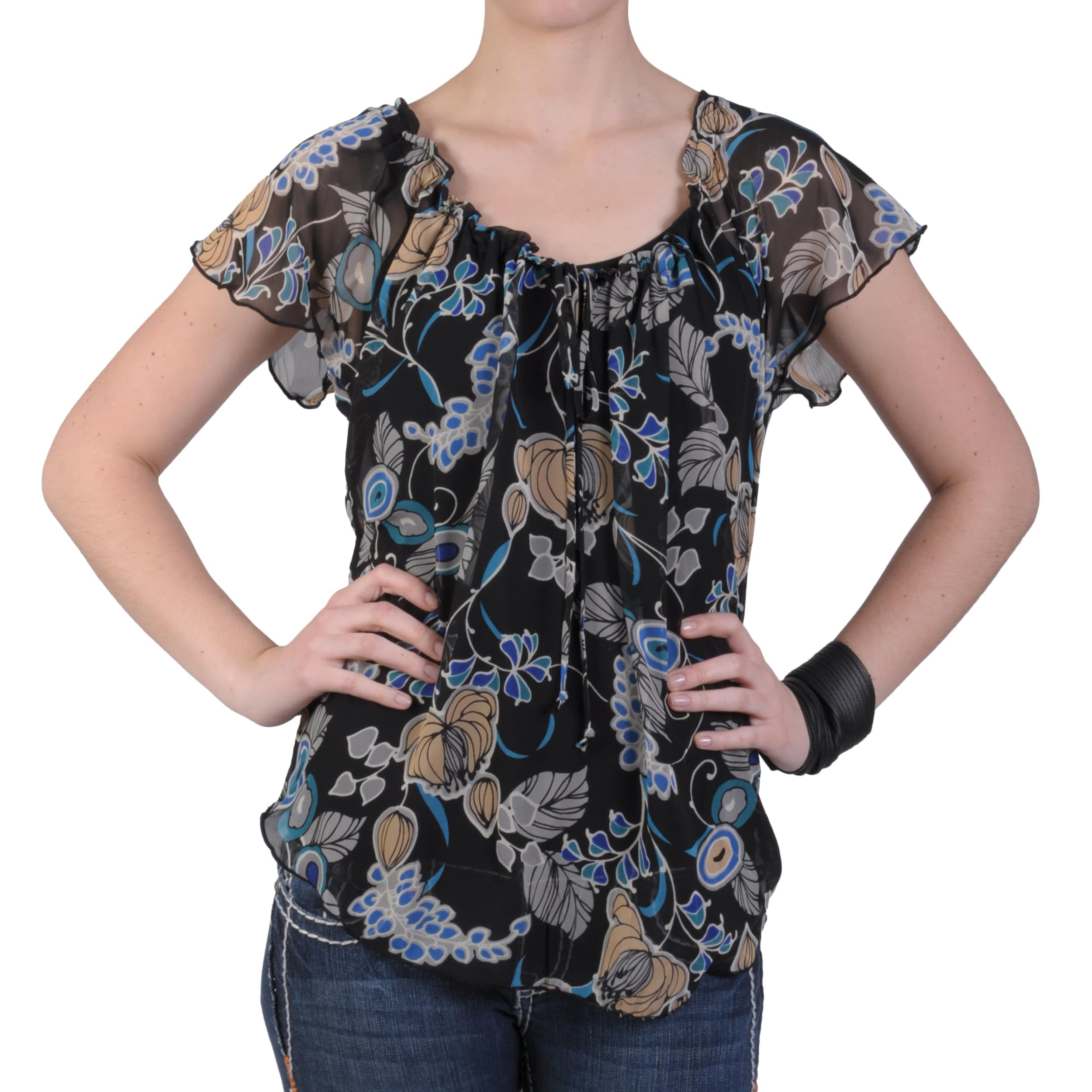 32ec13d23d7 Shop Journee Collection Women s Contemporary Plus Sheer Short-sleeve Peasant  Blouse - Free Shipping On Orders Over  45 - - 6595610