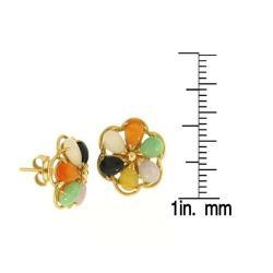 Mason Kay Natural Multi-color Jadeite Jade Flower Earring