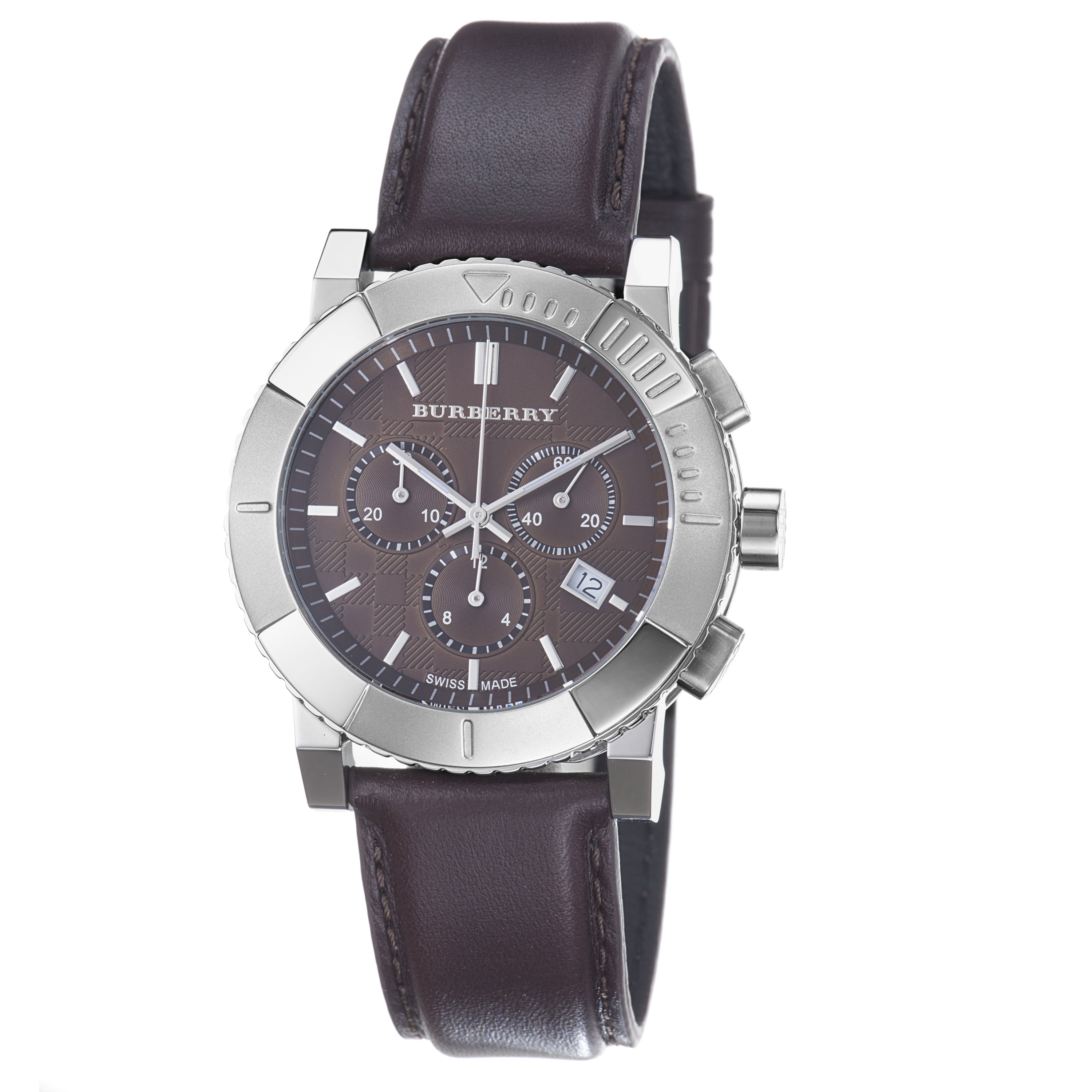 410189f0a4fb Shop Burberry Men's 'Round Chorno' Brown Dial Brown Leather Strap Watch -  Free Shipping Today - Overstock - 6595926