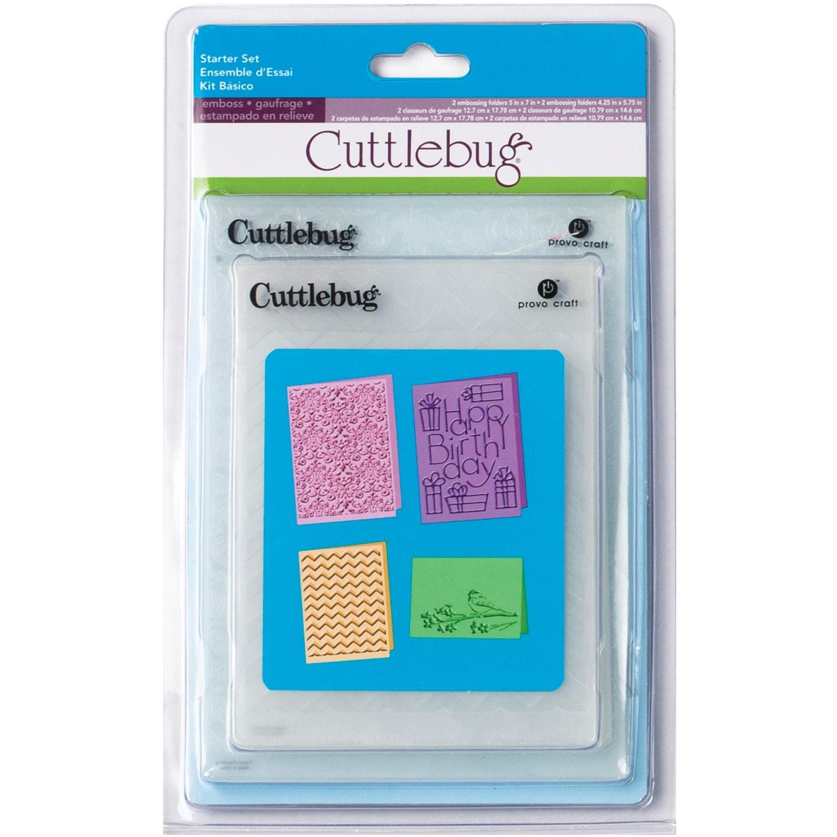 Cuttlebug Cricut Companion Embossing Folders Starter Bundle (Pack of 4)
