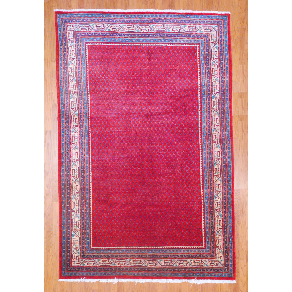 Persian Hand-knotted Mir Red/ Ivory Wool Rug (6'9 x 10'6)