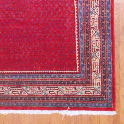 Persian Hand-knotted Mir Red/ Ivory Wool Rug (6'9 x 10'6) - Thumbnail 2