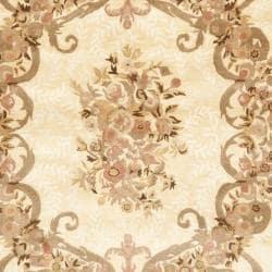 Safavieh Handmade Aubusson Maisse Light Gold/ Red Wool Rug (8' x 10') - Thumbnail 2