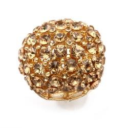 Lillith Star Champagne and Brown Crystal Dome Stretch Ring - Thumbnail 1