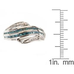 D'Yach Sterling Silver 3/5ct Blue Diamond Ring (G-H, I1-I2)