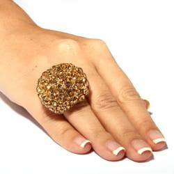 Lillith Star Champagne and Brown Crystal Dome Stretch Ring