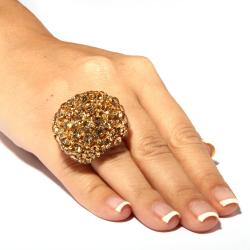 Lillith Star Champagne and Brown Crystal Dome Stretch Ring - Thumbnail 2