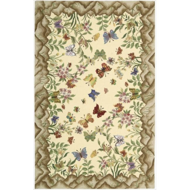 Nourison Hand-hooked Yellow Country Heritage Rug (8' x 11')