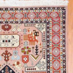 Persian Hand-knotted Tabriz Peach/ Beige Wool Rug (4'5 x 6'4)