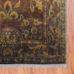 Indo Hand-knotted Tibetan Brown/ Beige Wool Rug (5' x 7'11)