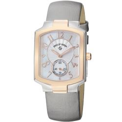 Philip Stein Women's 'Signature' Platinum Silk Strap Two Tone Watch