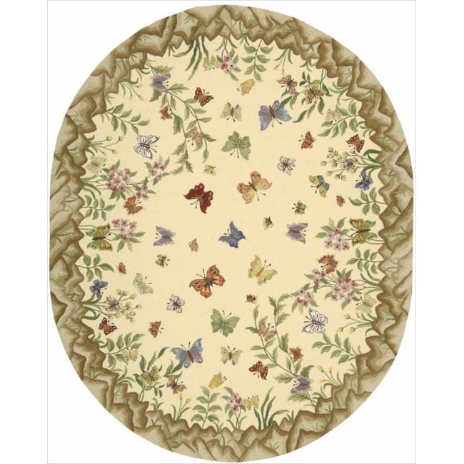 Nourison Hand-hooked Yellow Country Heritage Rug (7'8 x 9'6 Oval)