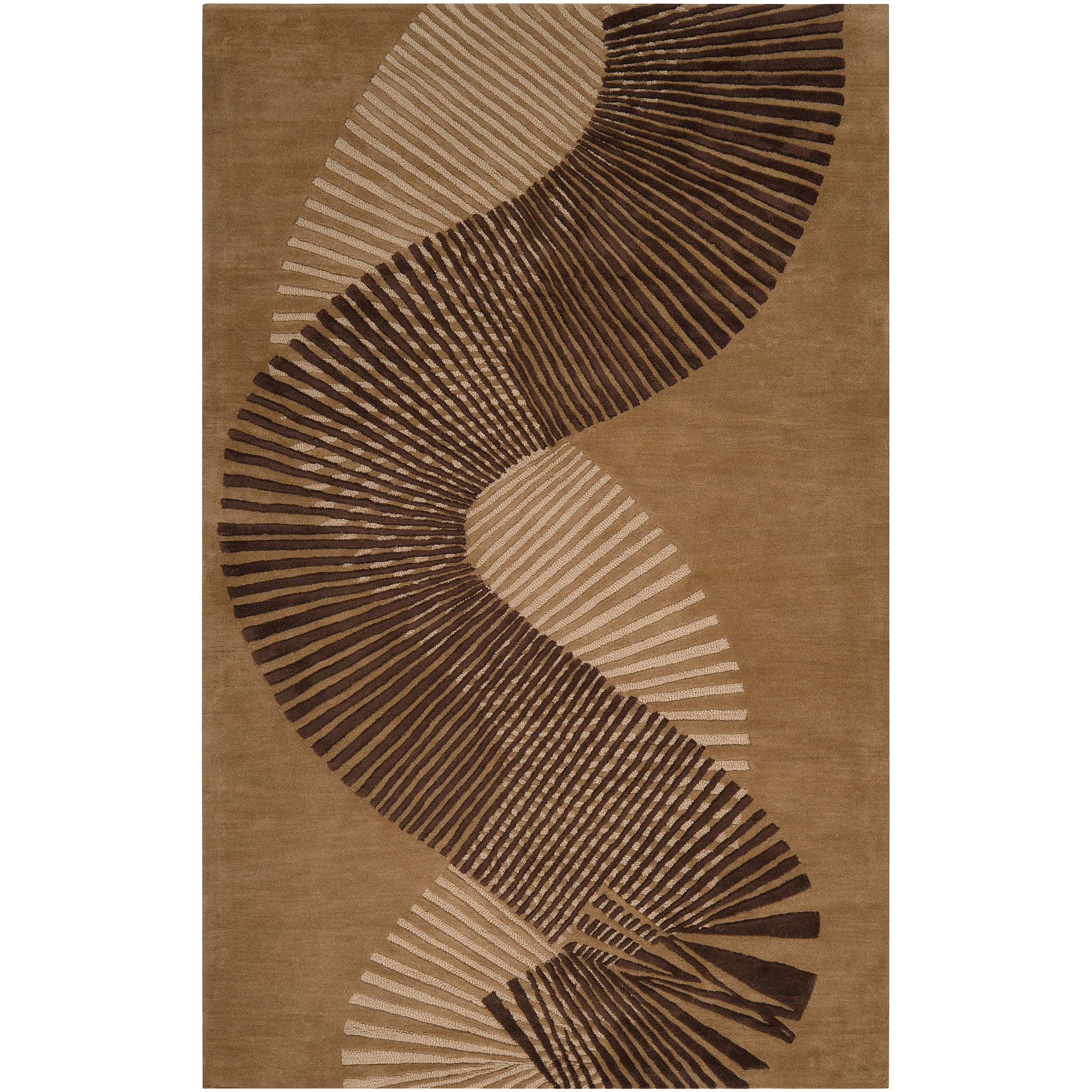 Hand-tufted Contemporary Brown Striped Akita New Zealand Wool Abstract Rug (9' x 13')