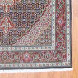 Persian Hand-knotted Tabriz Navy/ Burgundy Wool/ Silk Rug (5' x 6'10)