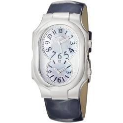 Philip Stein Women's 'Signature' Mother of Pearl Dial Blue Strap Watch
