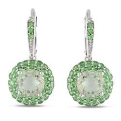Miadora Sterling Silver 5-1/4ct TGW Green Amethyst and Tsavorite Earrings
