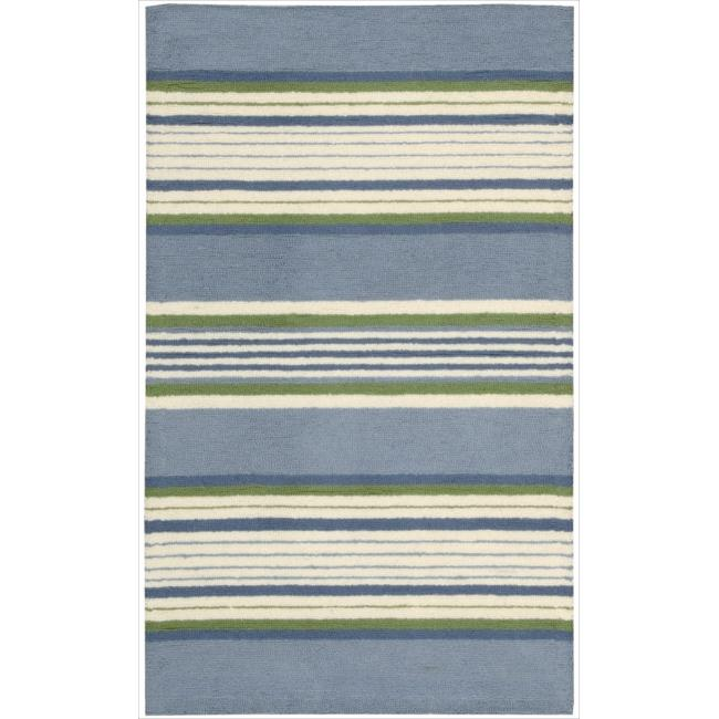 Nourison Hand-hooked Blue Country Heritage Rug (3'6 x 5'6)