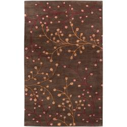 Hand-tufted Brown Briard Wool Rug (10' x 14')