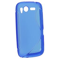 Frost Blue S Shape TPU Rubber Skin Case for HTC Desire S